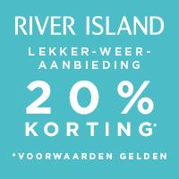 20 procent korting op alles in de webshop van River Island